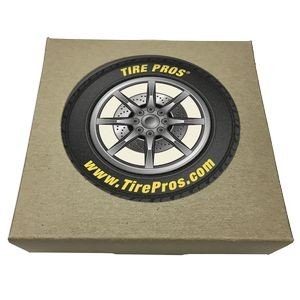 Set of 2 Round Absorbent Stone Car Coasters w/ Natural Kraft Box